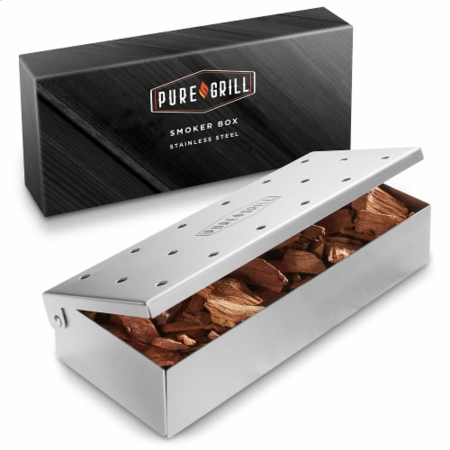 Stainless Steel BBQ Smoker Box with Hinged Lid for Wood Chips Perspective: front