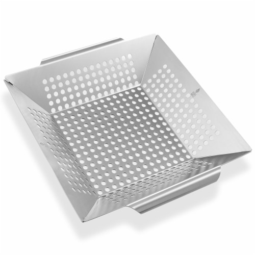 Vegetable Grilling Basket, Stainless Steel by Pure Grill Perspective: front