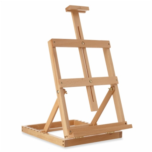 Tabletop H-Frame Beechwood Artist Studio Painting Easel- 7 Elements Perspective: front