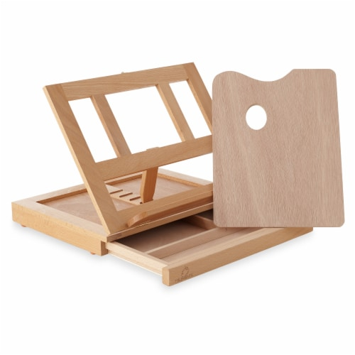 Beechwood Table Easel- Adjustable with Palette and Storage- 7 Elements Perspective: front