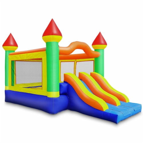 Commercial Mega Double Slide Castle Bounce House w/ Blower by Cloud 9 Perspective: front