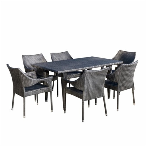 Noble House Cliff 7 Piece Outdoor Dining Set in Gray Perspective: front