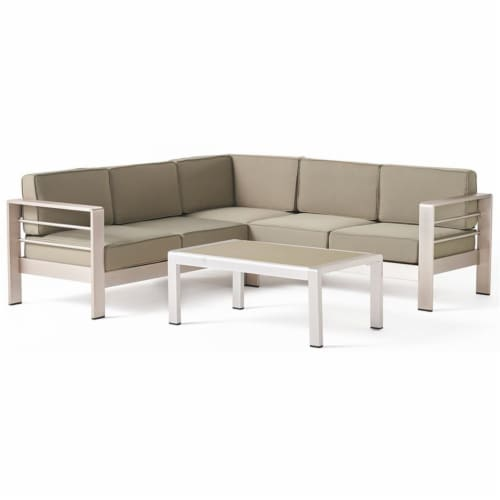 Noble House Cape Coral Khaki Water Proof Cushion Sofa Set with Glass Table Perspective: front