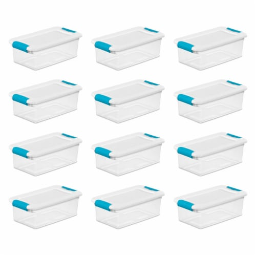 Sterilite 1492 6-Quart Clear Stackable Latching Storage Box Container (12 Pack) Perspective: front