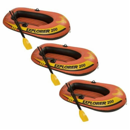 Intex Explorer 200 Inflatable Two Person Raft Set with Oars and Pump, Set of 3 Perspective: front