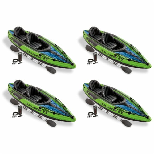 Intex Challenger K2 2-Person Inflatable Sporty Kayak + Oars And Pump (4 Pack) Perspective: front