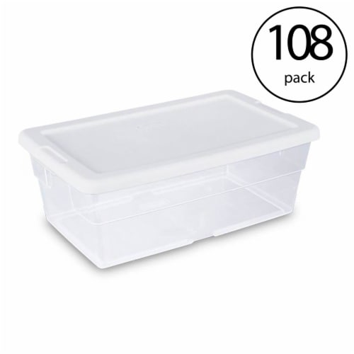 Sterilite 6 Quart Clear Plastic Stacking Storage Container Tote (108 Pack) Perspective: front