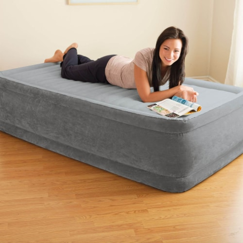 Intex Comfort Dura-Beam Elevated Twin Air Mattress w/ Built-In Pump (5 Pack) Perspective: front