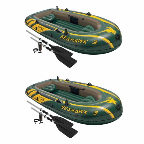 Intex Seahawk 3 Person Inflatable Boat Set with Aluminum Oars & Pump (2 Pack) Perspective: front