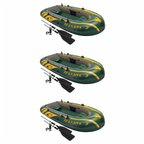 Intex Seahawk 3 Person Inflatable Boat Set with Aluminum Oars & Pump (3 Pack) Perspective: front
