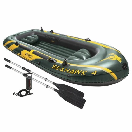 Intex Seahawk 4 Inflatable 4 Person Boat Raft Set with Oars & Air Pump (2 Pack) Perspective: front