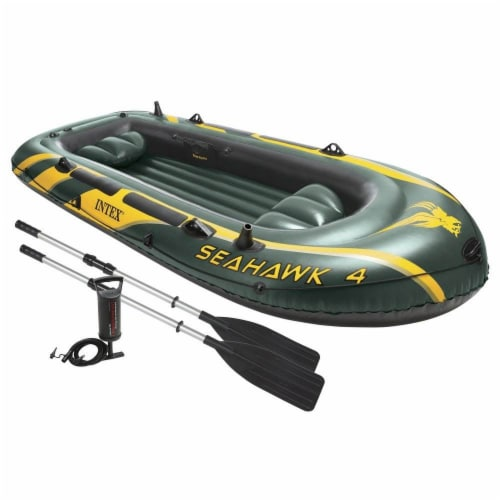 Intex Seahawk 4 Inflatable 4 Person Boat Raft Set with Oars & Air Pump (5 Pack) Perspective: front