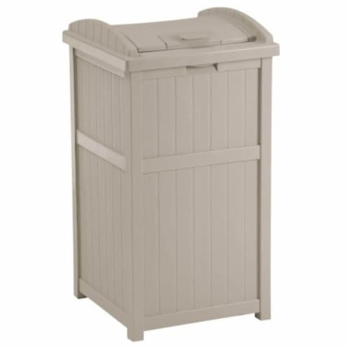 Suncast 30-33 Gallon Deck Patio Resin Garbage Trash Can Hideaway, Taupe (3 Pack) Perspective: front