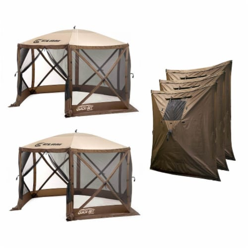 Clam Quick Set Escape Portable Outdoor Canopy (2 Pack) + Wind and Sun Panels Perspective: front