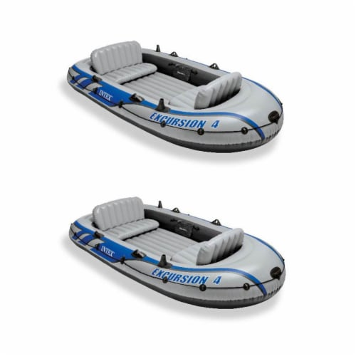 Intex Excursion Inflatable Rafting Fishing 4 Person Boat w/ Oars & Pump (2 Pack) Perspective: front