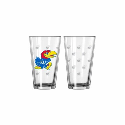 Kansas Jayhawks Satin Etch Pint Glass Set Perspective: front