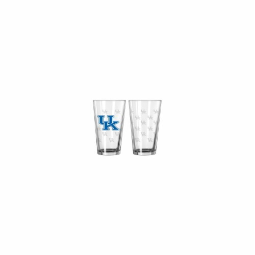 Kentucky Wildcats Satin Etch Pint Glass Set Perspective: front