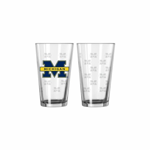 Michigan Wolverines Satin Etch Pint Glass Set Perspective: front