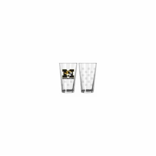 Missouri Tigers Satin Etch Pint Glass Set Perspective: front