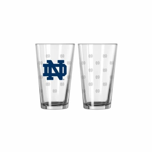 Notre Dame Fighting Irish Satin Etch Pint Glass Set Perspective: front