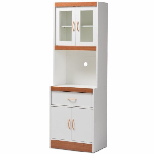 Baxton Studio Laurana Kitchen Cabinet and Hutch in White and Cherry Perspective: front