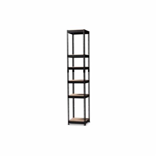 Baxton Studio Gavin Modern and Contemporary Black Metal 5-Shelf Closet Storage Racking Perspective: front