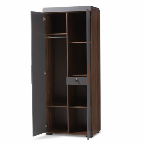 Baxton Studio Rikke 7-Shelf Wood Armoire in Gray and Walnut Brown Perspective: front
