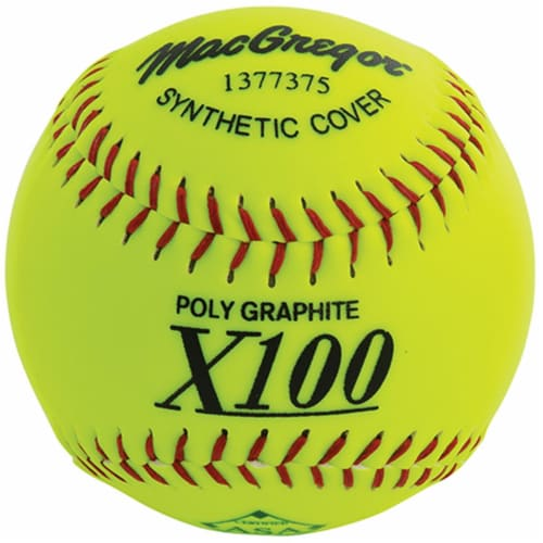 MacGregor 1377375 12 in. X52RE ASA Slow Pitch Softball, Synthetic Perspective: front