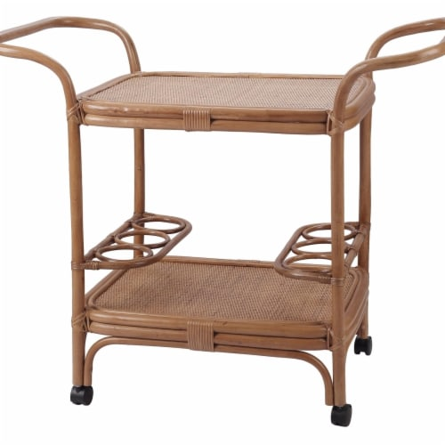 New Pacific Direct 4900033 Trento Rattan Cart, Canary Brown Perspective: front