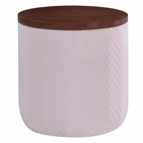 New Pacific Direct 1600065-311 Essen Quilted Velvet Fabric Round Storage Ottoman, Walnut & Se Perspective: front