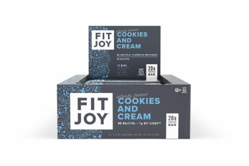 FitJoy Cookies & Cream Protein Bar 12 Count Perspective: front