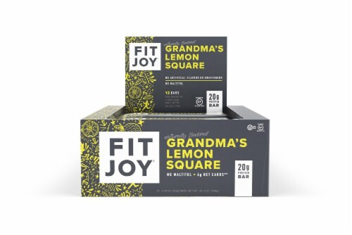 FitJoy  Grandma's Lemon Square Protein Bar 12 Count Perspective: front