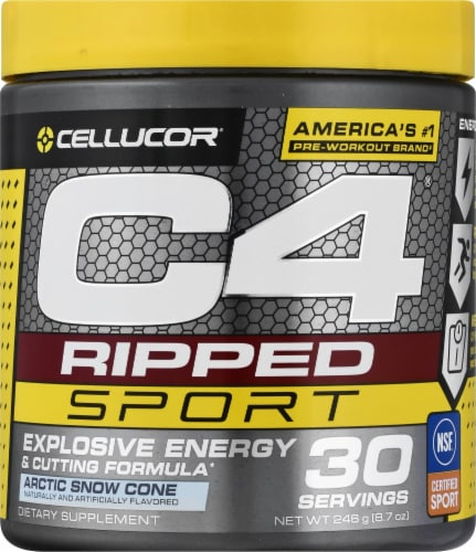 Cellucor C4 Arctic Snow Cone Ripped Sport Pre-Workout Perspective: front