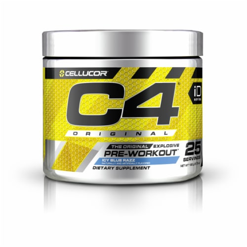 C4 Original Icy Blue Razz Pre-Workout Dietary Supplement Perspective: front