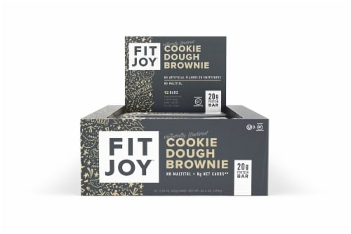 FitJoy Cookie Dough Brownie Flavor Protein Bars 12 Count Perspective: front