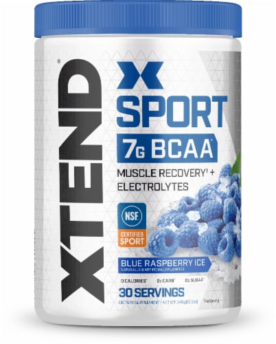 Xtend Sport Blue Raspberry Ice Muscle Recovery Powder Perspective: front
