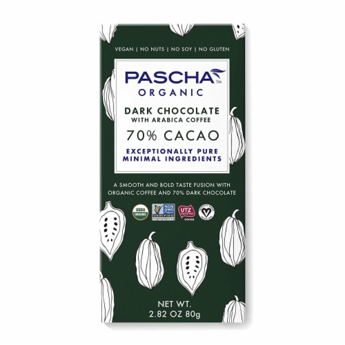 Pascha Organic 70% Cacao Dark Chocolate Bar Perspective: front