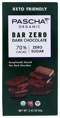 Pascha Sugar Free Organic 70% Cacao Stevia Sweetened Dark Chocolate Bar Perspective: front