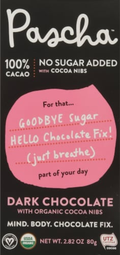 Pascha 100% Cacao Sugar Free Organic Dark Chocolate Bar Perspective: front