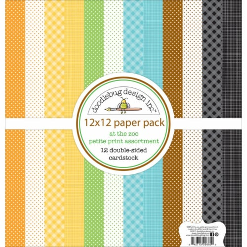Doodlebug Petite Prints Double-Sided Cardstock 12 X12  12/Pk-At The Zoo, 12 Designs/1 Each Perspective: front