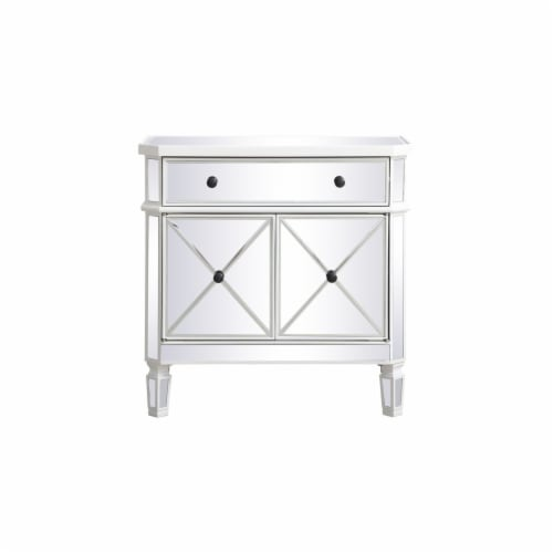 32 inch mirrored cabinet in antique white Perspective: front