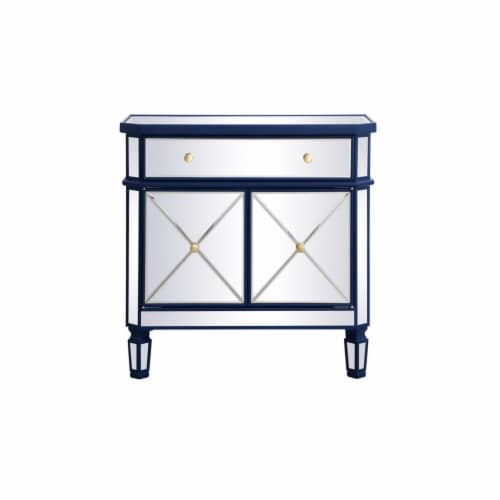 32 inch mirrored cabinet in blue Perspective: front