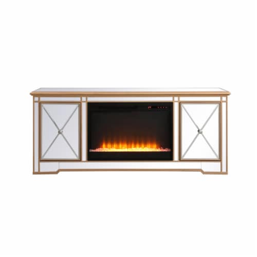 Modern 60 in. mirrored tv stand with crystal fireplace in antique gold Perspective: front
