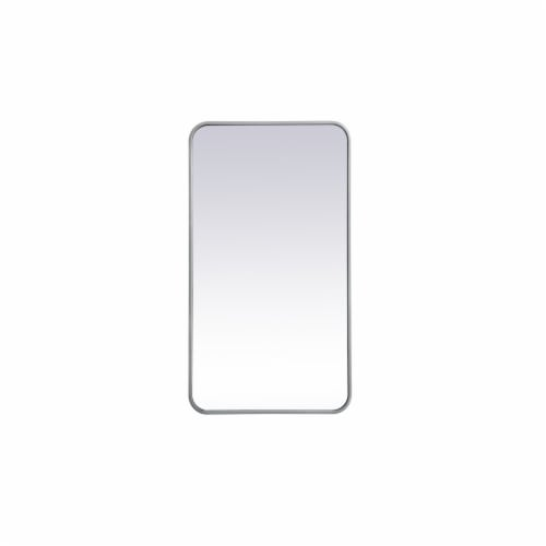 Soft corner metal rectangular mirror 20x36 inch in Silver Perspective: front