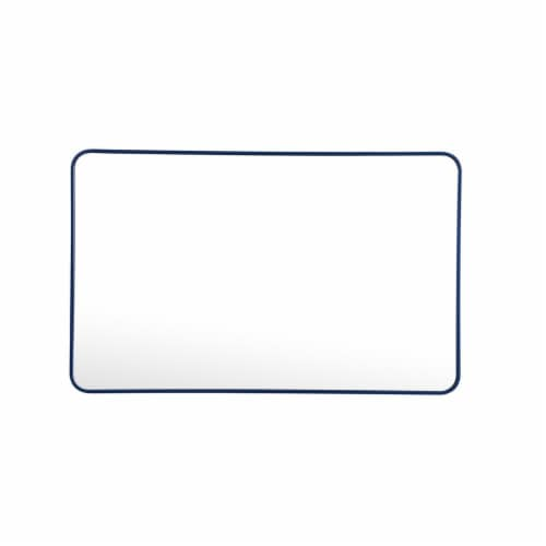 Soft corner metal rectangular mirror 30x48 inch in Blue Perspective: front