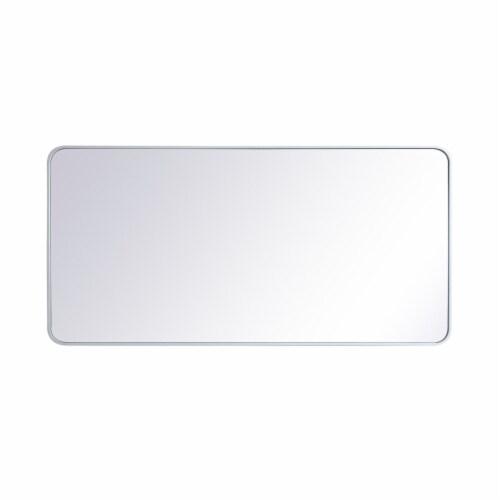 Soft corner metal rectangular mirror 30x60 inch in White Perspective: front