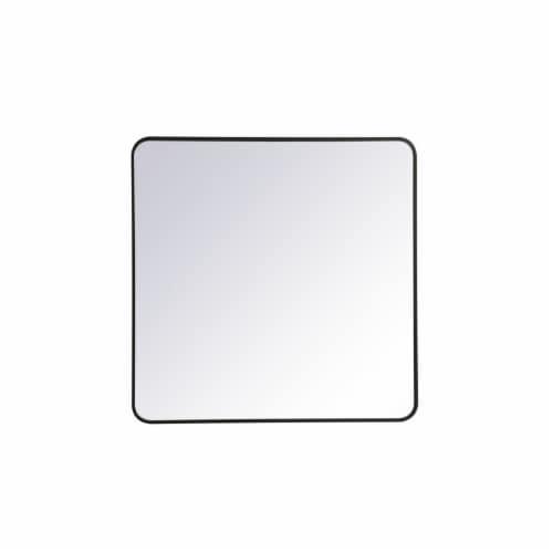 Soft corner metal rectangular mirror 36x36 inch in Black Perspective: front