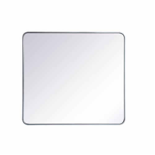 Soft corner metal rectangular mirror 36x40 inch in Silver Perspective: front