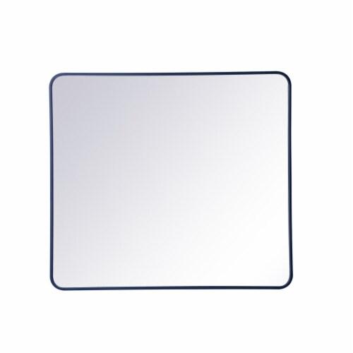 Soft corner metal rectangular mirror 36x40 inch in Blue Perspective: front