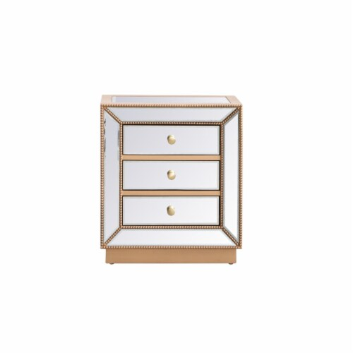 21 inch mirrored chest in antique gold Perspective: front